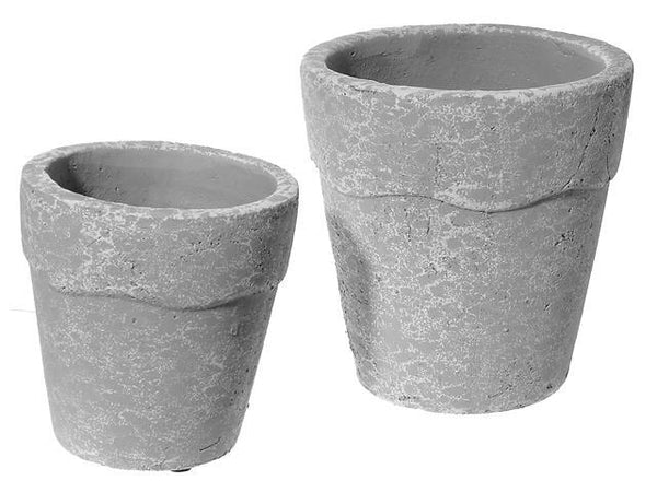 NESTING 2 PC CEMENT ROUND PLANTER (WAVE WHITE) - BayShoomar