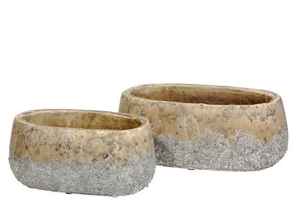 NESTING 2 PC CEMENT OVAL PLANTER (WAVEY GRAY) - BayShoomar