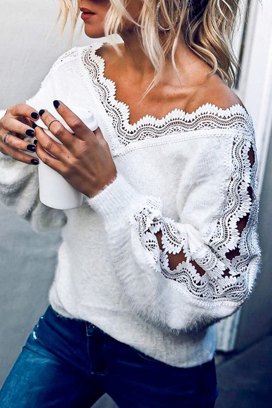 IT'S YOUR LACE CHANCE SWEATER