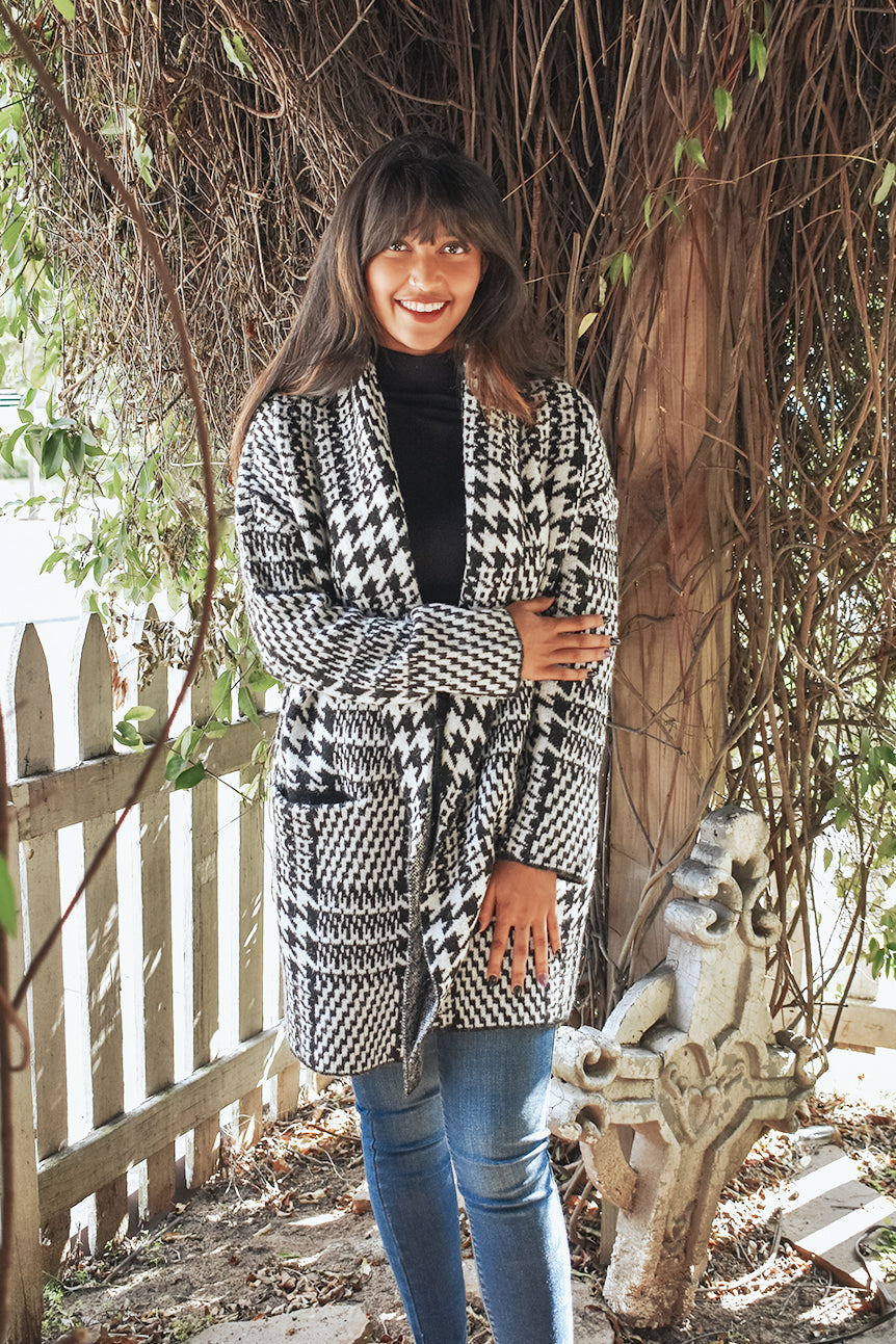 LOST AND HOUNDSTOOTH CARDIGAN