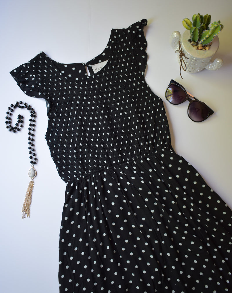 SEEING SPOTS MIDI DRESS
