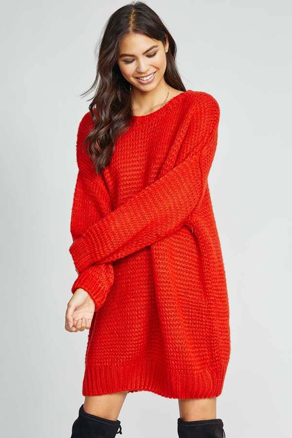 FIRE'S FLICKER SWEATER DRESS