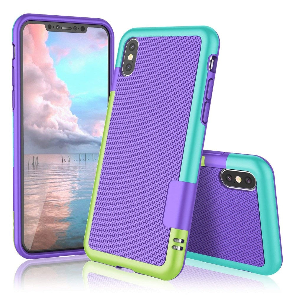 Anti-slip Shockproof Hybrid Phone Case for iphone X XS MAX XR Soft TPU Silicon Cover For iphone 7 8 6 6S Plus