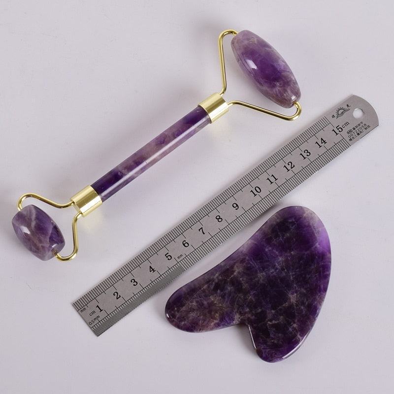 Natural Amethyst Face Massage Roller | Anti-Aging Slimming Face Massage Tool