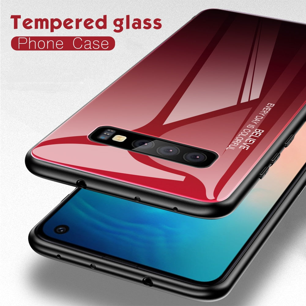 Transparent Colors Cases For Samsung Galaxy S10 S10e A9 A7 A8 A6 Plus 2018 A7 A5 2017 J8 J4 J6 Plus S9 S8 Plus Note 8 9 S Tempered Glass Cover
