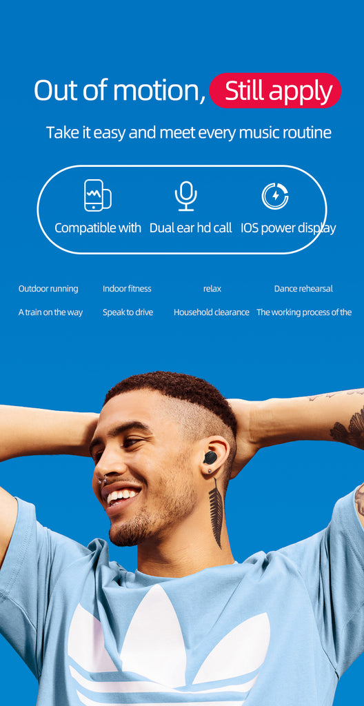 Bluetooth 5.0 Wireless Earbuds with Built-in Mic