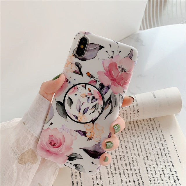 Rose floral Iphone Case with Ring Foldable Bracket