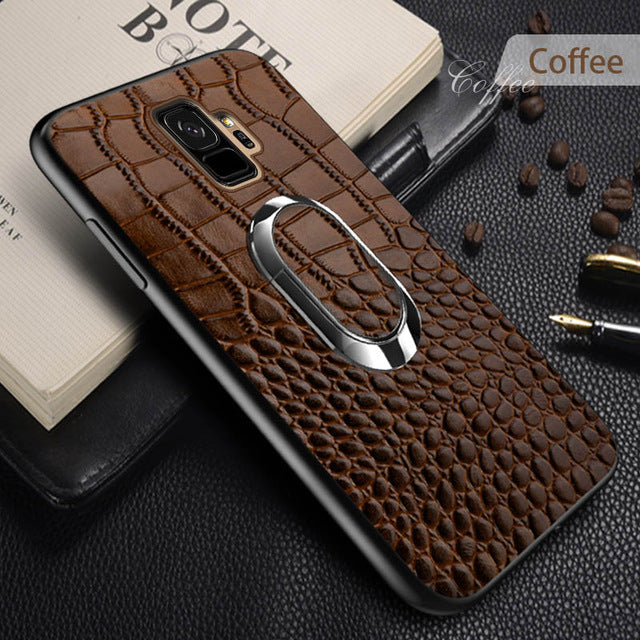 Genuine Leather Case For Samsung Galaxy a50 a70 a30 a8 a7 2018 Note 10 9 S10 S9 S7 S8 Plus Luxury Magnetic Kickstand back cover