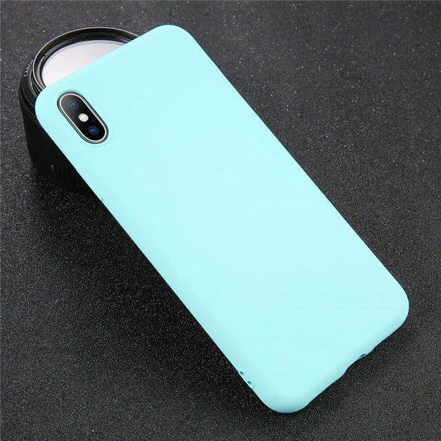 Solid Color Case for iPhone XS 11 Pro MAX XR X XS Max Candy Phone Cases for iPhone 11 7 6 6S 8