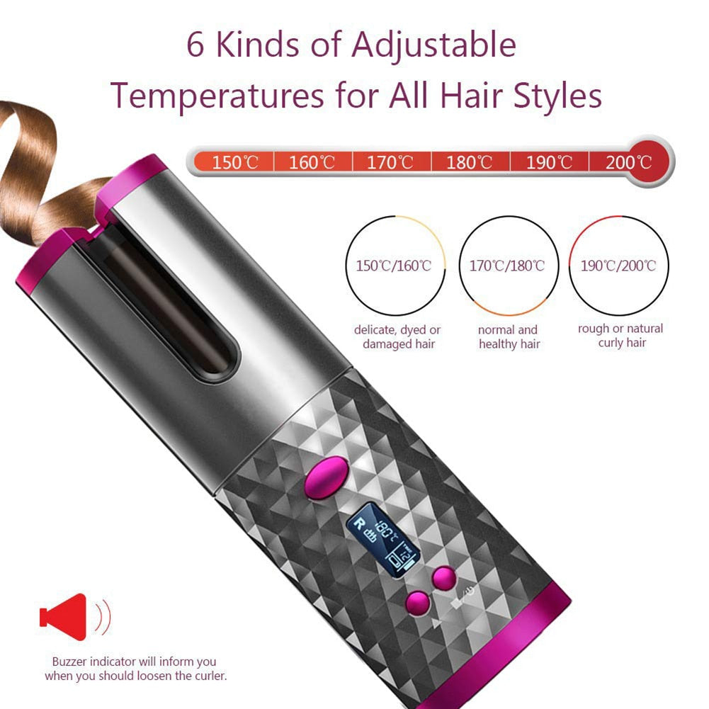 Rechargeable Cordless Automatic Hair Curler