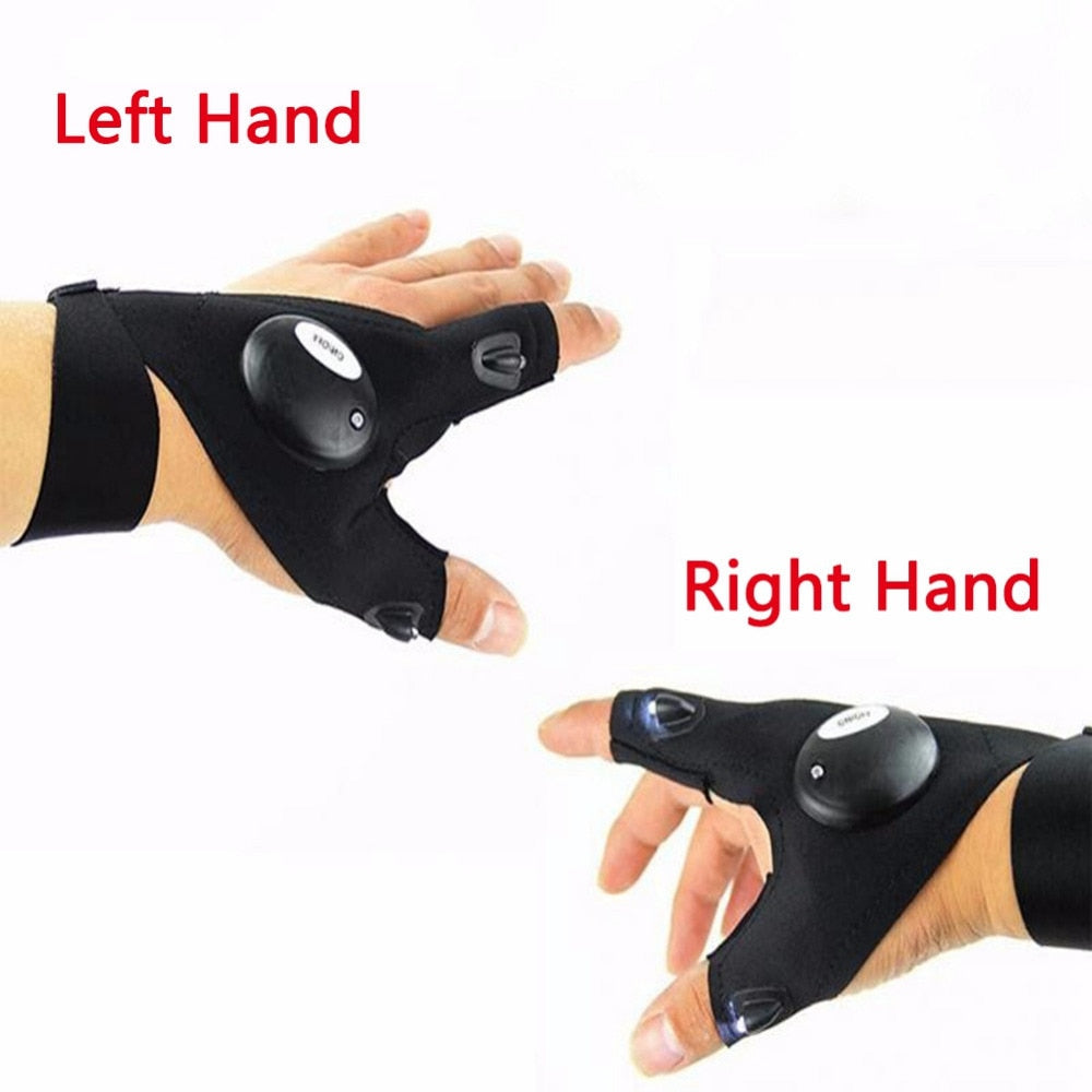 Magic Strap Fingerless Glove with LED lights