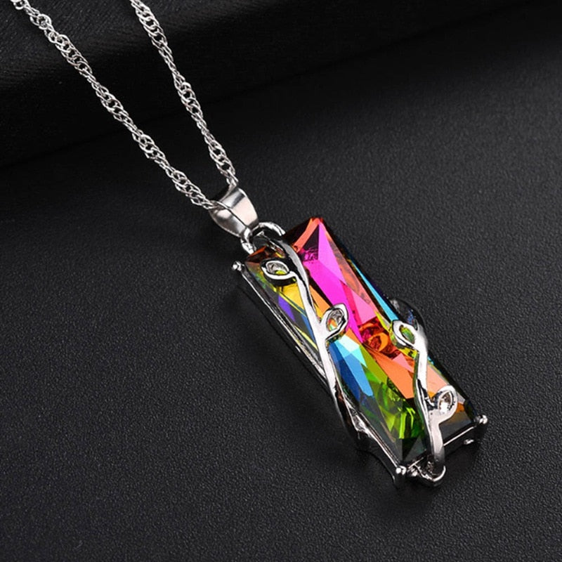 Rainbow Crystal Pendant Necklaces
