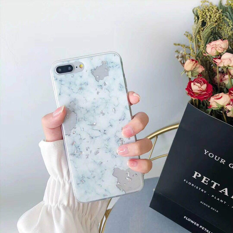Luxury Gold Foil Bling Marble Phone Case For iPhone