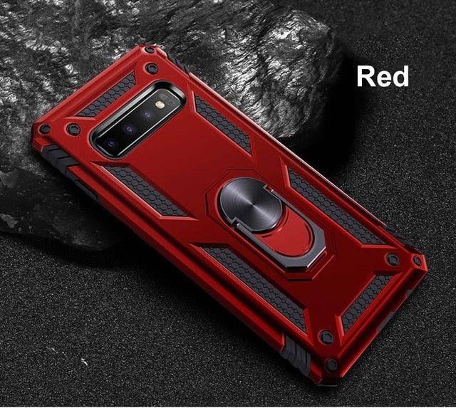 Luxury Armor Soft Shockproof Case On The For Samsung Galaxy S8 S9 S10 Plus S10e Note 8 9 A7 2018 Silicone Car Holder Ring Case