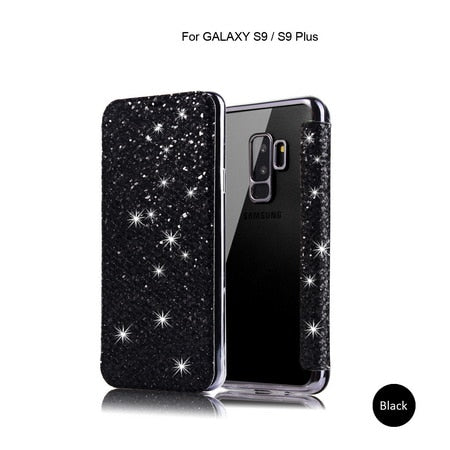 Luxury Bling Glitter Flip Leather Case For Samsung Galaxy S8 S9 S10 S10Plus S10E Note 8
