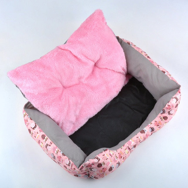 Dot Owl Washable Indoor Cute Cotton Pink Pet Dog Bed