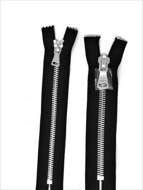 Wholesale Black Glossy Pocket Zipper Silver Teeth 5MM or 8MM in 7 inches Closed Non Separating