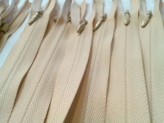 Light Beige Invisible Zippers 14 Inches Color 891 - ZipUpZipper