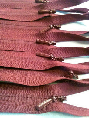 Wholesale Burgundy Invisible Zippers Color 021 - Choose Length -