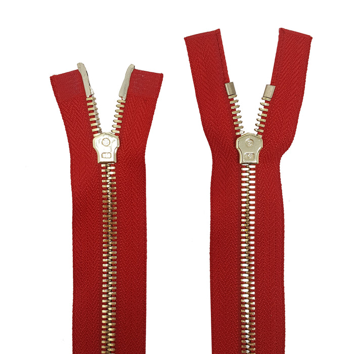 Glossy 5MM or 8MM Two-Way Separating Open Bottom Zipper, Red/Brass | 11.5 Inch to 36 Inch