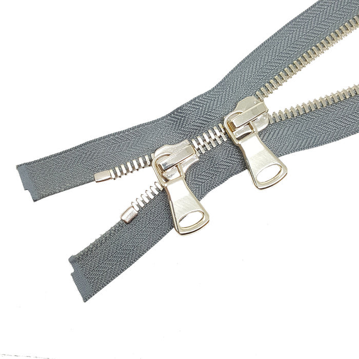 Zip-Up Glossy 8MM Teeth Two-Way Separating Open Bottom Zipper, Gray Tape Brass Teeth - Choose Length