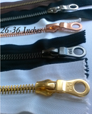 Riri Zipper 6mm One Way White, Black Or Brown Tape - Silver Black Copper or Gold Teeth 26-36 inches