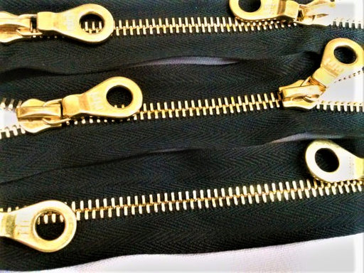 Black Riri Gold Plated Jacket Zipper 6MM Two Way SEPARATING 27.5 Inches - ZipUpZipper