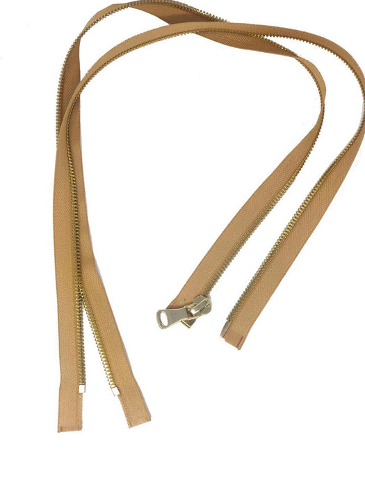 Glossy 8MM One-Way Separating Open Bottom Zipper, Beige/Brass | 4 Inch to 28 Inch Length