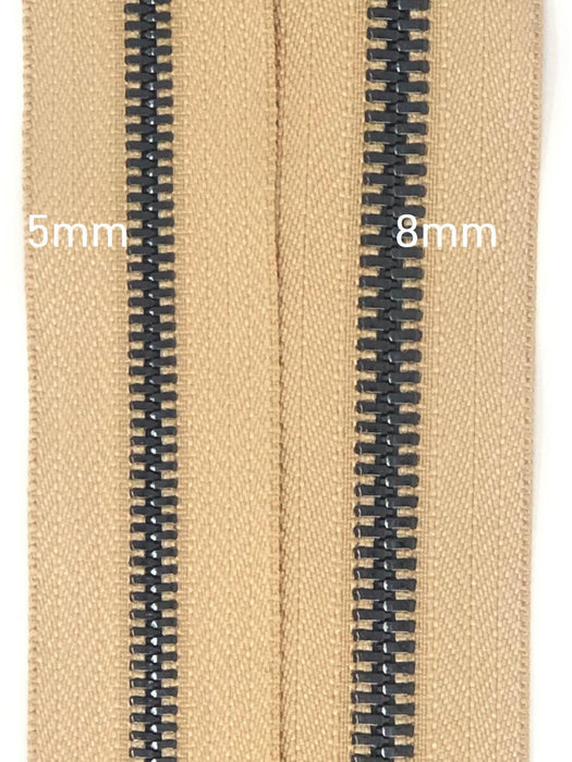 Glossy 5MM or 8MM One-Way Separating Open Bottom Zipper, Beige/Gun Metal | 4 Inch to 28 Inch Length