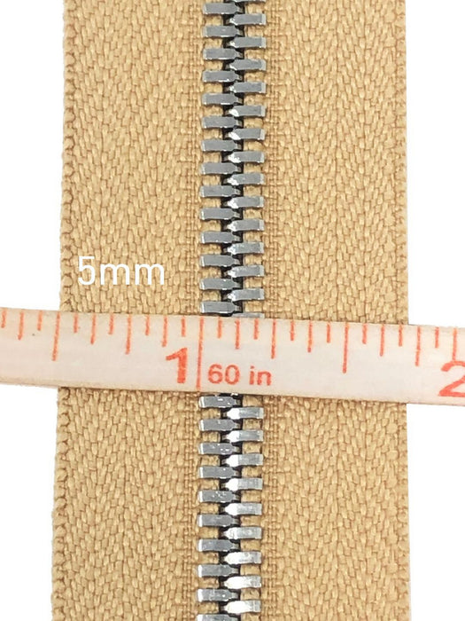 Glossy 5MM or 8MM One-Way Separating Open Bottom Zipper, Beige/Silver | 4 Inch to 28 Inch Length