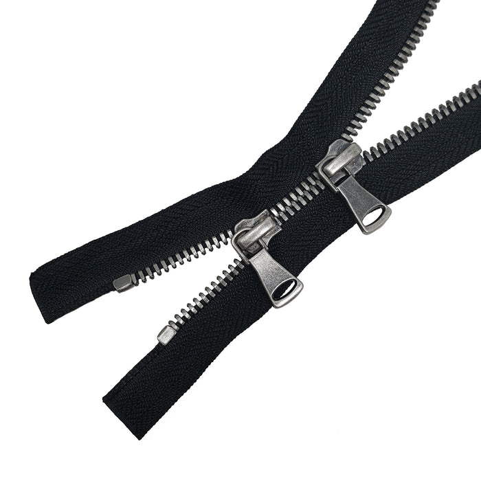 Glossy 5MM Two-Way Separating Open Bottom Zipper, Black/Antique Nickel | 4 Inch to 36 Inch Length