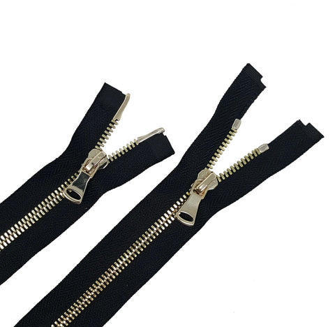Glossy 5MM or 8MM Two-Way Separating Open Bottom Zipper, Black/Brass | 4 Inch to 36 Inch