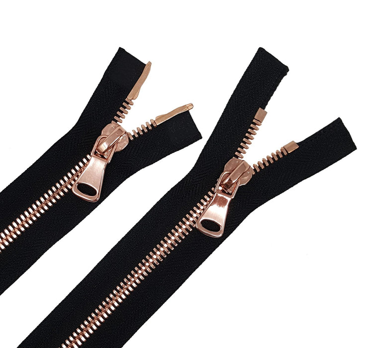 Glossy 8MM Two-Way Separating Open Bottom Zipper, Black/Rose Gold | 4 Inch to 36 Inch Length