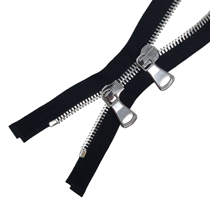 Glossy 8MM Two-Way Separating Open Bottom Zipper, Black/Silver | 4 Inch to 36 Inch Length