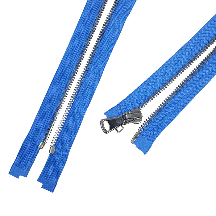 Glossy 5MM or 8MM One-Way Separating Open Bottom Zipper, Blue/Gun Metal | 4 Inch to 28 Inch Length