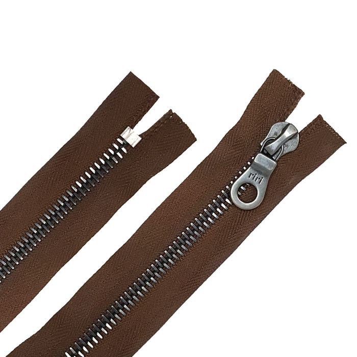 Riri 8MM Closed Bottom Zipper with KTA Pull, Brown/Gun Metal