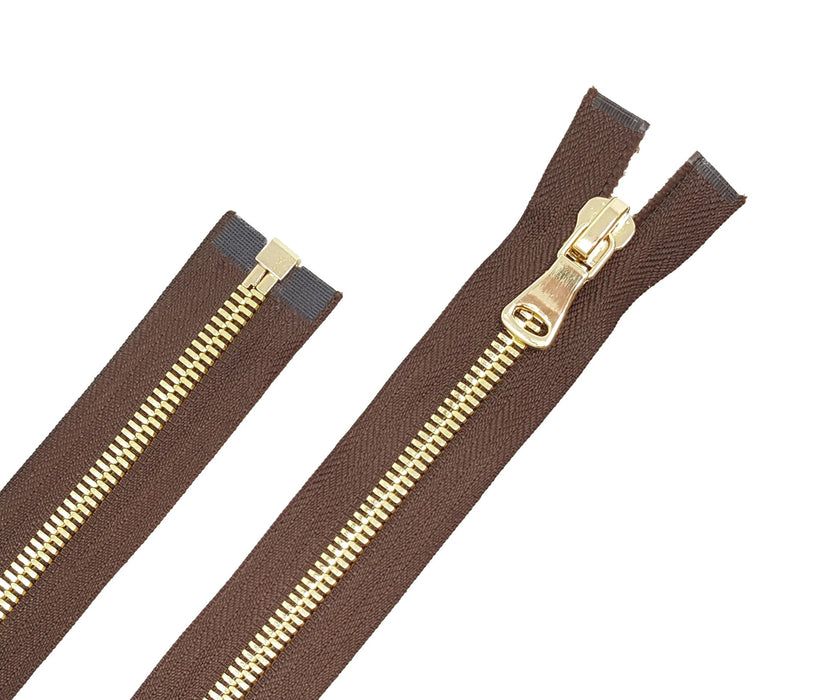 Glossy 8MM One-Way Separating Open Bottom Zipper, Brown/Brass 4 Inch to 28 Inch Length