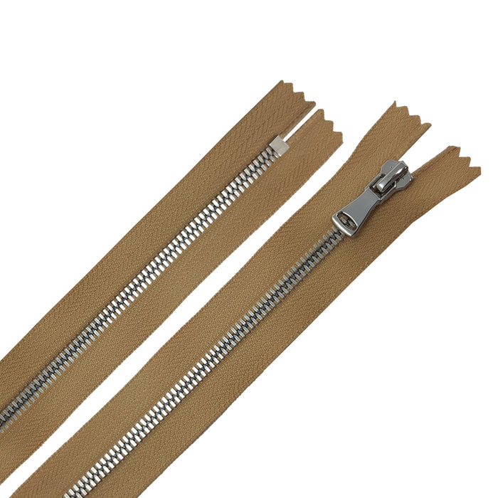 Glossy 5MM or 8MM One-Way Non-Separating Closed Bottom Zipper, Beige/Nickel | 5 Inch to 27 Inch Length