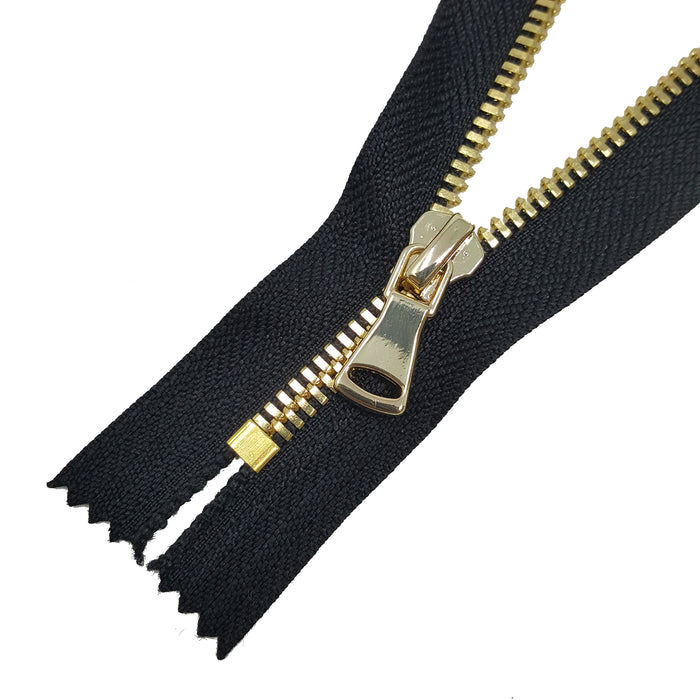 Glossy 5MM or 8MM One-Way Non-Separating Closed Bottom Zipper, Black/Brass | 5 Inch to 27 Inch Length