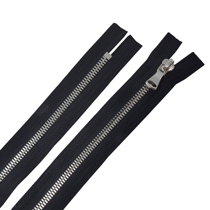 Glossy 5MM or 8MM One-Way Non-Separating Closed Bottom Zipper, Black/Nickel | 5 Inch to 27 Inch Length