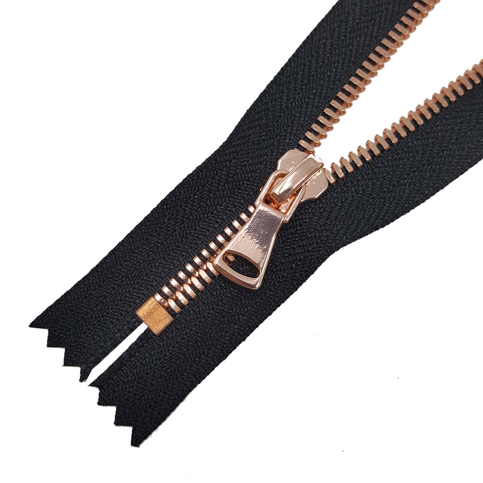 Glossy 5MM or 8MM One-Way Non-Separating Closed Bottom Zipper, Black/Rose Gold | 5 Inch to 27 Inch Length