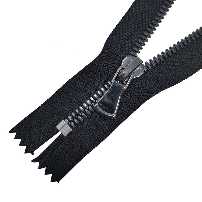 Glossy 5MM or 8MM One-Way Non-Separating Closed Bottom Zipper, Black/Gun Metal | 5 Inch to 27 Inch Length