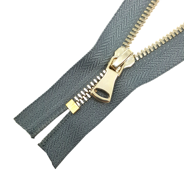 Glossy 5MM or 8MM One-Way Non-Separating Closed Bottom Zipper, Gray/Brass | 5 Inch to 27 Inch Length
