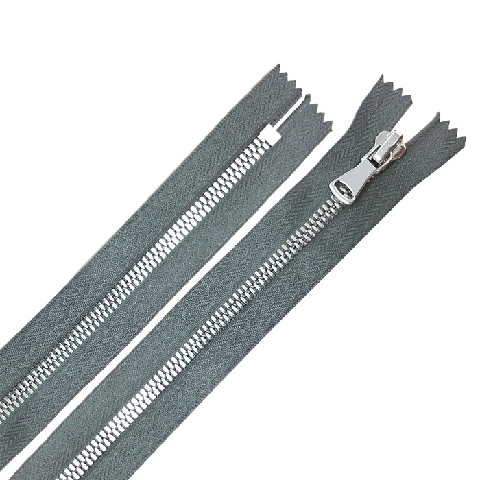 Glossy 5MM or 8MM One-Way Non-Separating Closed Bottom Zipper, Gray/Nickel | 5 Inch to 27 Inch Length