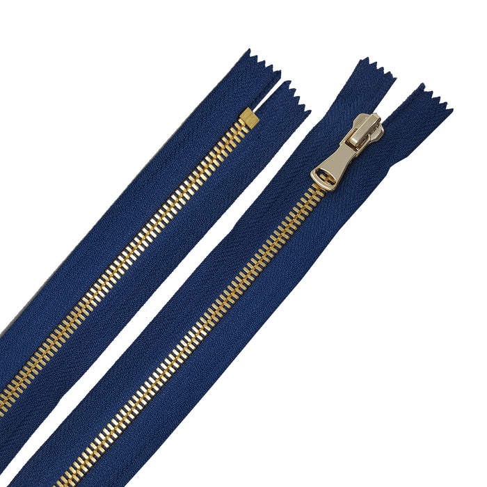 Glossy 5MM or 8MM One-Way Non-Separating Closed Bottom Zipper, Navy/Brass | 5 Inch to 27 Inch Length