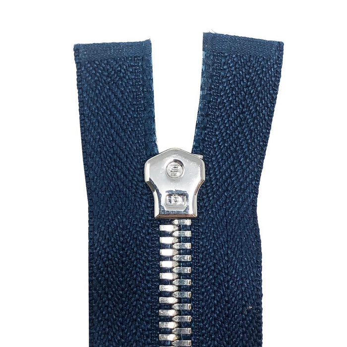 Glossy 5MM One-Way Non-Separating Closed Bottom Zipper, Navy/Nickel | 5 Inch to 27 Inch Length