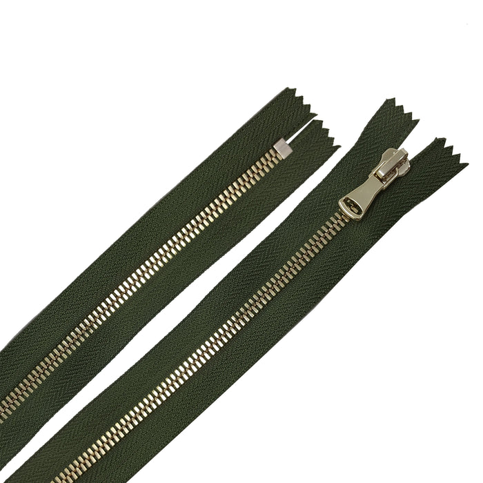 Glossy 5MM One-Way Non-Separating Closed Bottom Zipper, Olive/Brass | 5 Inch to 27 Inch Length