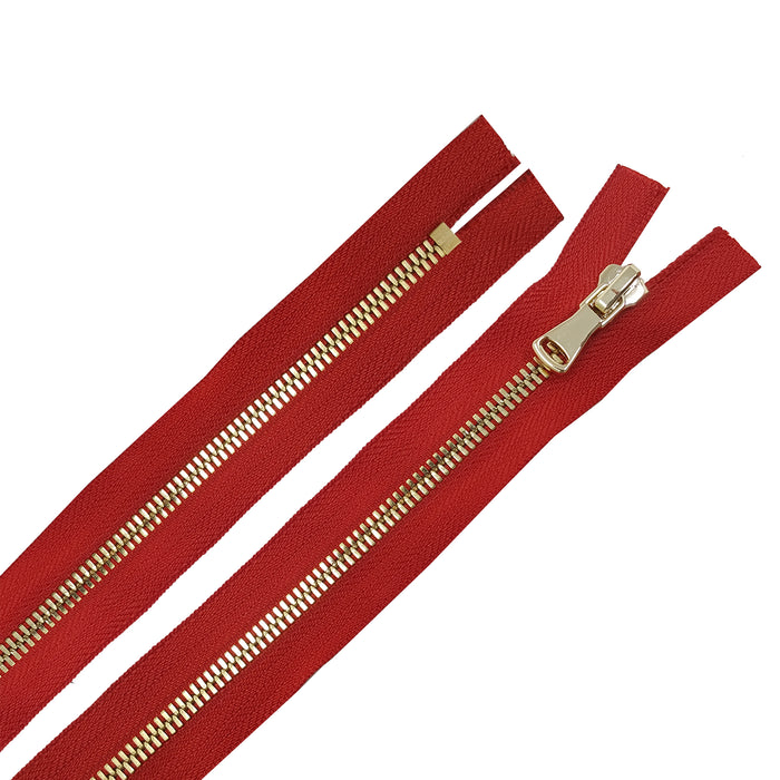Glossy 5MM or 8MM One-Way Non-Separating Closed Bottom Zipper, Red/Brass | 5 Inch to 27 Inch Length