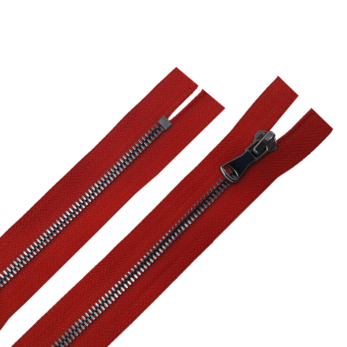 Glossy 5MM or 8MM One-Way Non-Separating Closed Bottom Zipper, Red/Gun Metal | 5 Inch to 27 Inch Length