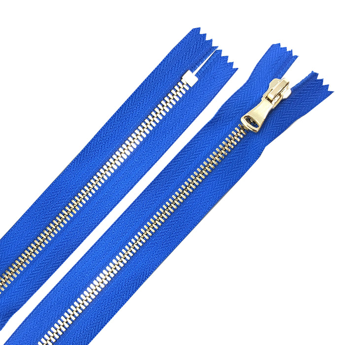 "Glossy Jacket Zipper Set in 5MM or 8MM Metal Teeth, One 18"" to 28"" Open Bottom and Two 7"" Pocket Closed Bottom Zippers, Royal Blue/Brass"
